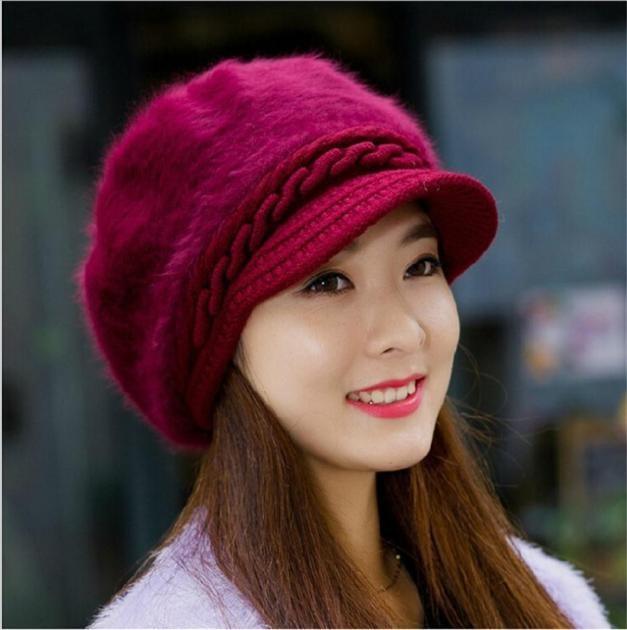Beanies Knitted Hats Women 2020 Newly Fashion Hat Winter Skullies Rabbit Fur Cap Mujer