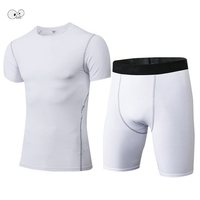 New Fitness Mens Compression Sets Bodybuilding Short Sleeve T Shirt Quick Dry Tracksuit Crossfit Tights Running