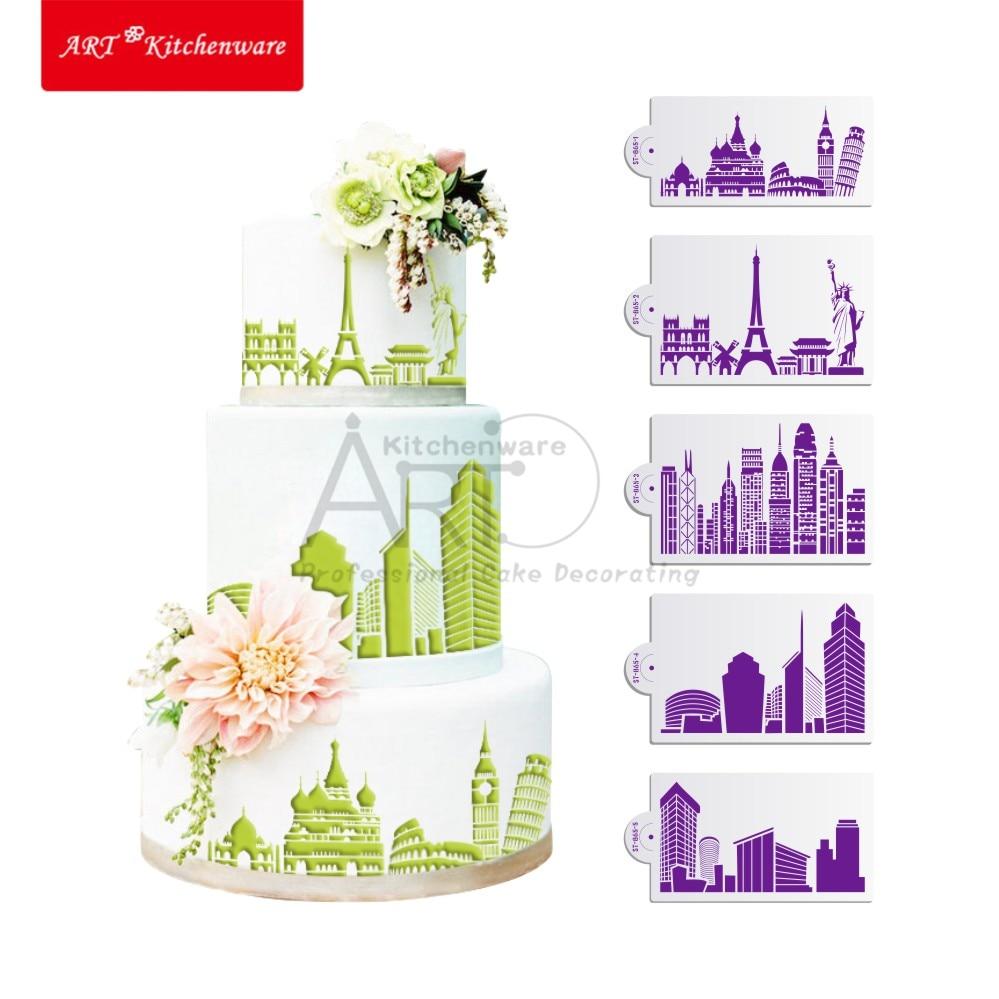 Landmaark kitchen accessories - New 5pcs Set Landmark Pisa Stencil Set Wedding Cake Stencil Eiffel Fondant Cake Decorating Tools Mold Kitchen Accessories St 865