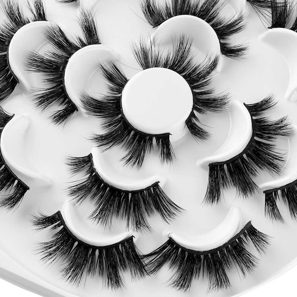 0d0166afaf9 ... 7 Pairs 3D Mink Hair False Eyelashes 25mm Lashes Thick Long Wispy  Fluffy Handmade Cruelty- ...