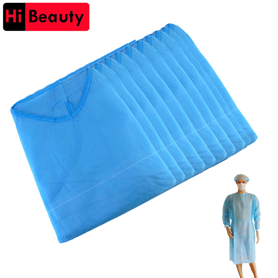 10pcs/lot Disposable Aseptic Surgical Non Woven Gown Dust Operation Coat Clothes Clothing Hats Caps Tattoo Makeup Accessory