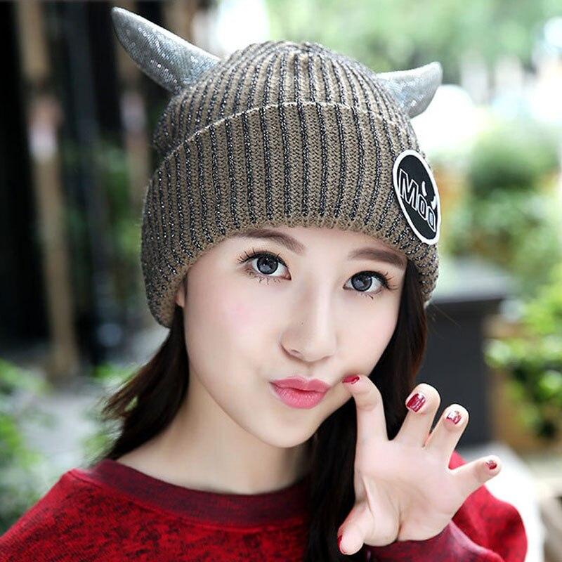 Horns Devil Velvet Knitted Hat Women Autumn Winter Hat For Women Hat Fashion Warm Skullies Beanies Female Cap Free Shipping