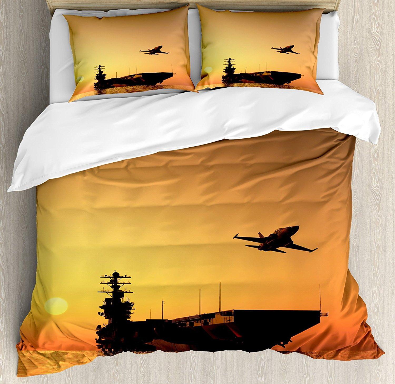 Ensemble housse de couette décor de guerre avion militaire Jet et navire armé la mer au coucher du soleil Horizon thème, ensemble de literie 4 pièces