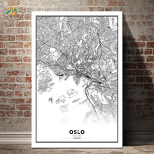 Oslo Map City Graph Art Nordic Canvas Painting Wall Poster Home Decoration Posters And Prints Plant Pictures Decor