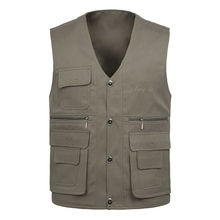 B new Spring mens two-sided vest multi-pocket men casual fishing photography plus size S-4XL