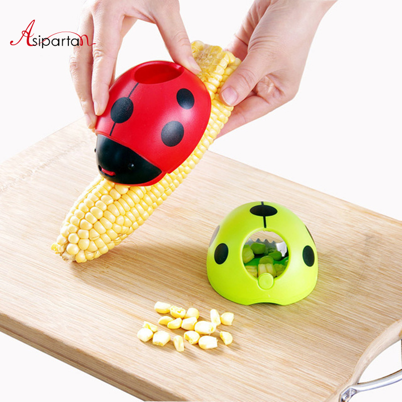 Asipartan Creative Ladybug Hand Corn Stripper Stainless Steel Corn Grain Separator Cob R ...