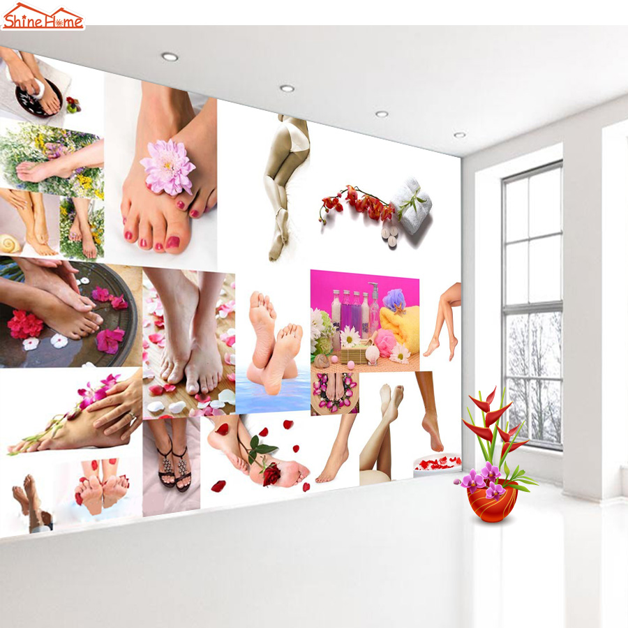 Shinehome-SPA Salon Nail Foot Art Massage 3 D Wallpaper For Room 3d Wall Background Rolls Paper Roll Wallpapers Papel De Parede