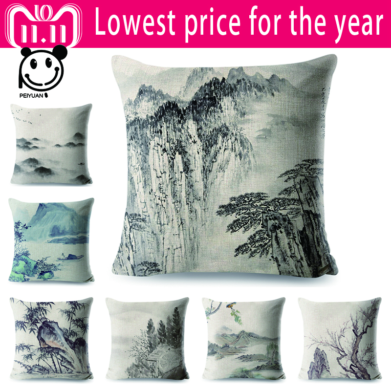 Chinese Lnk Pillow Case Animals Linen Cotton Square Cushion Cover for Sofa Home