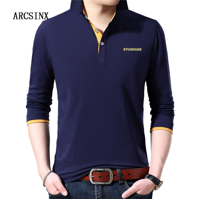 ARCSINX Brand   Polo   Shirt Men Long Sleeve Cotton Man   Polos   Plus Size 5XL 4XL 3XL Spring Autumn Casual Korean Mens   Polo   Shirts