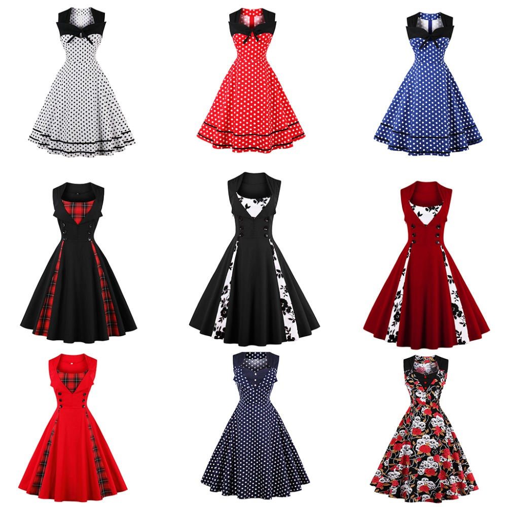 Women 5XL New 50s 60s Retro Vintage Dress Polka Dot Patchwork - Damkläder - Foto 3