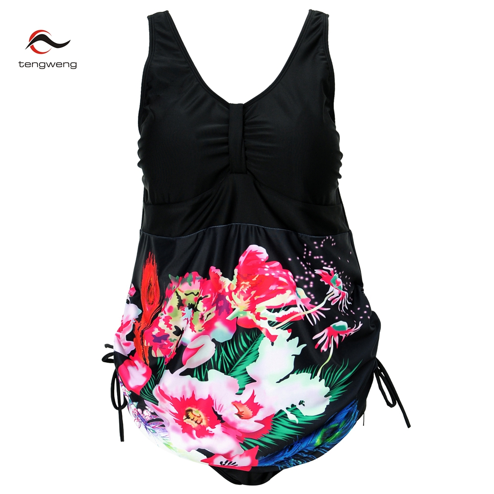 2017 Women Sexy One Piece Swimsuit Vintage Floral Print Swimsuit Black Sport Monokini Plus Size Swimwear Skirt Bathingsuit M-4XL