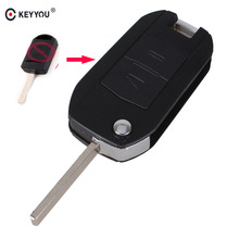 KEYYOU Modified 2 Button Flip Fob Car Key Case Shell Replacement Combo Uncut Blade Key Cover For Opel Vauxhall Corsa C Meriva