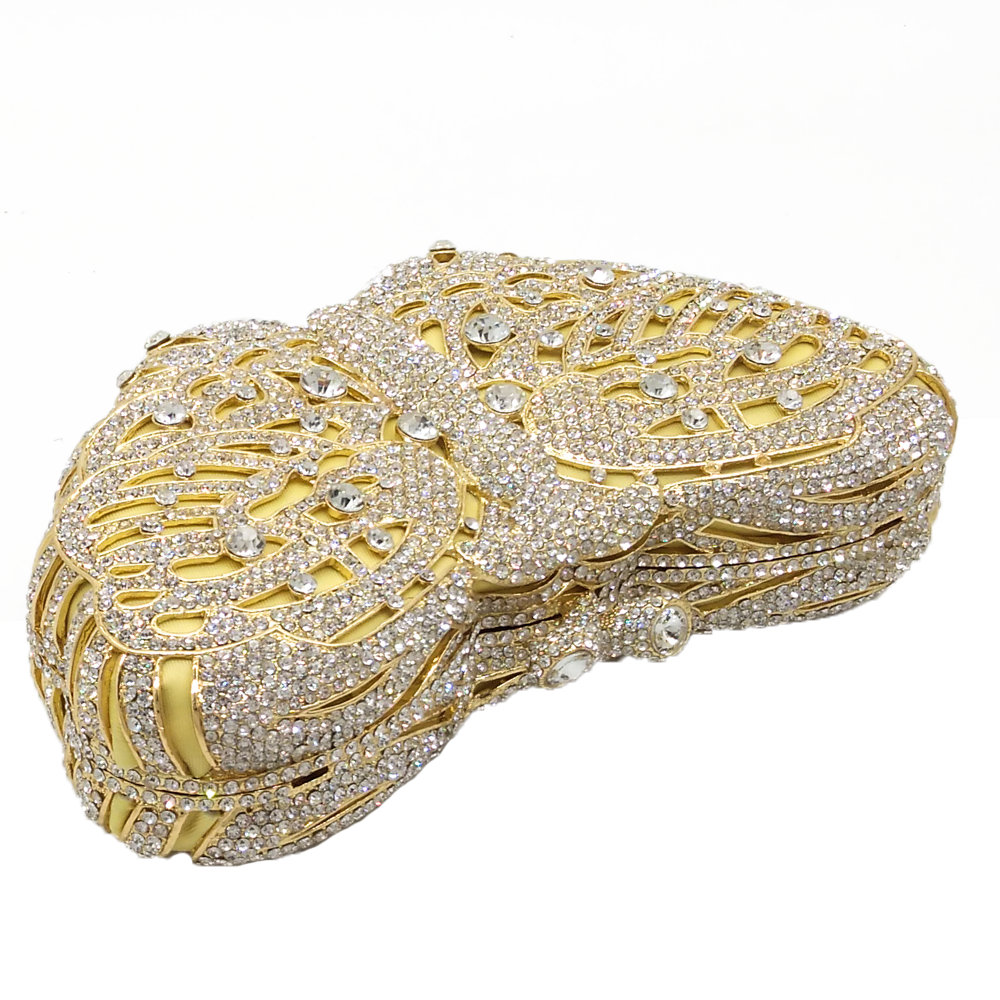 Bagaj ve Çantalar'ten Üstten Saplı Çanta'de Butik De FGG Kelebek Debriyaj Kadınlar Altın Kristal Akşam Çantalar Gelin Elmas Çanta ve Çantalar Düğün Gala Akşam Yemeği Çantası'da  Grup 3