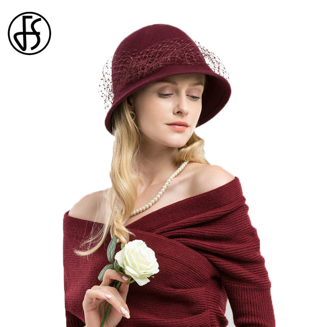 0efb2160db0 FS 100% Wool Cloche Hat Black Fedora Women Wide Brim Elegant Wine Red Veil  Felt Hats Winter Ladies Floppy Bowler Church Cap