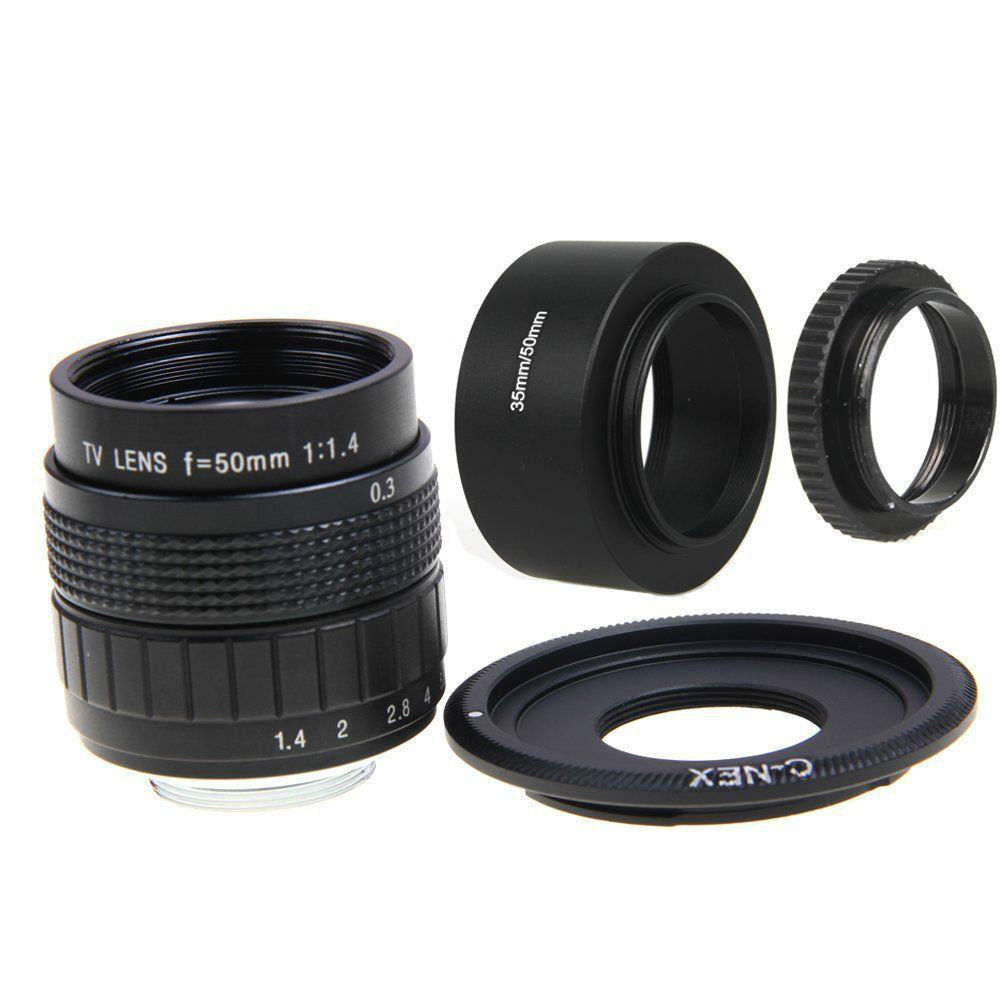 FUJIAN 50mm F1.4 CCTV Movie Lens +C Mount +Lens Hood + Macro Ring for SONY E Mount NEX3 NEX6 NEX7 NEX-5R A6500 A6300 A6000 A5000