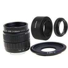 FUJIAN 50mm F1.4 CCTV Lente Filme C + Montagem + Capa de Lente + Macro anel para sony e mount nex3 nex7 nex6 nex-5r a6300 a6500 a6000 A5000