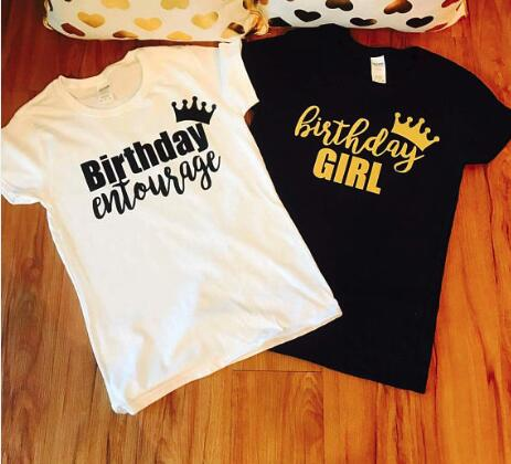 Personalize Glitter Birthday Entourage Womens T Shirts Bachelorette Bridal Shower Tanks Tops Party Favors Gifts In From Home Garden On