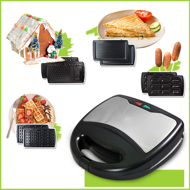 220V Multifunctional Electric Waffle Machine Non-stick Electric Breakfast Waffle Maker Machine With 4 Plates EU/AU/UK/US Plug