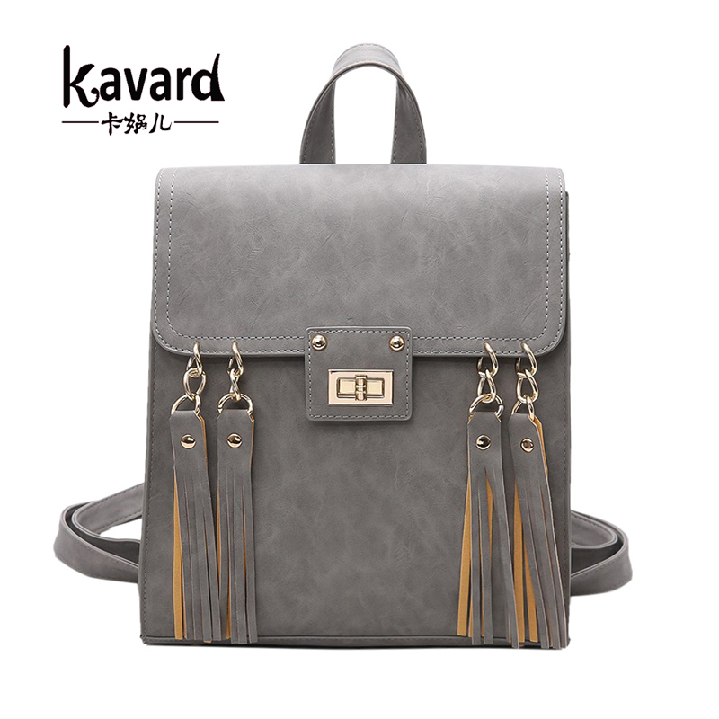 Kavard Tassel Women Backpack Gril School Bags for Teenagers High Quality Black Pu Leather Lady Backpacks