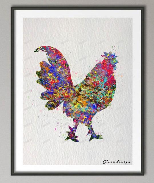 DIY Original watercolor Chicken canvas painting Birds wall art ...