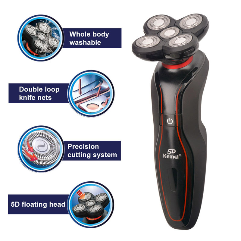 Ergonomic Design Kemei Rechargeable D Floating Electric Washable Shaver IPX Waterproof Beard