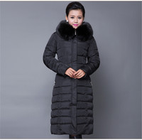 X Long Cotton Padded Jacket Female Faux Fur Hooded Thick Parka Warm Winter Jacket Women Solid