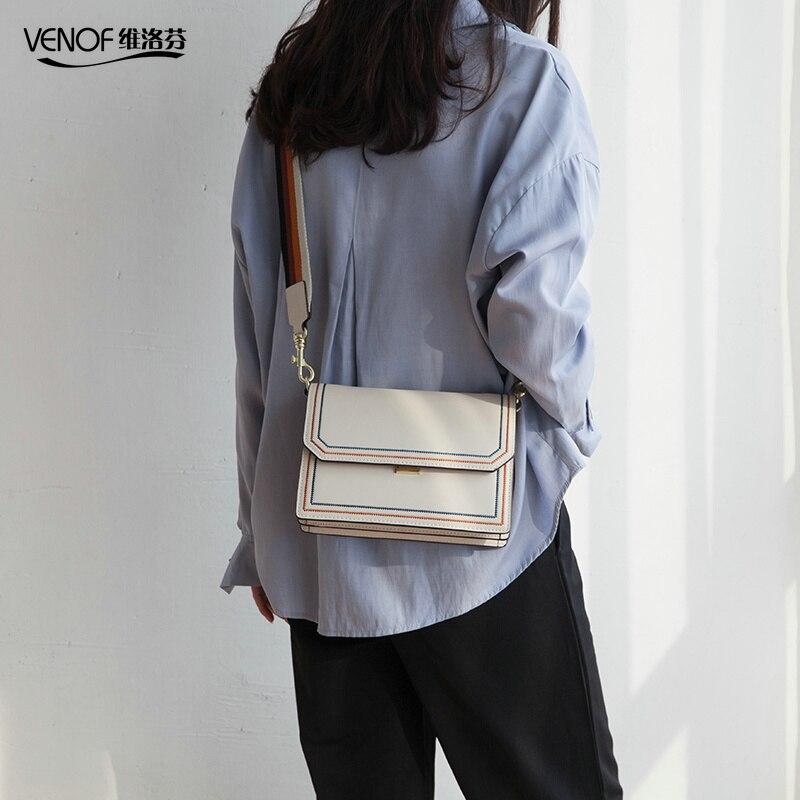 VENOF 2019 casuales de las mujeres de cuero de bolso bandolera bolsos de hombro señoras hombro ancho de las correas bolso bolsas de mensajero