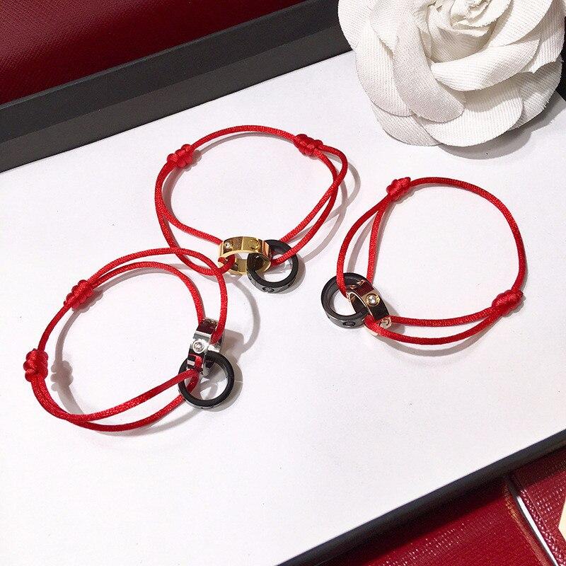 Haute Qualité Charité Étoiles Avec Double Anneau Chanceux Cadeau D'anniversaire en acier inoxydable carter amour bracelet Marque corde vis Bracelet