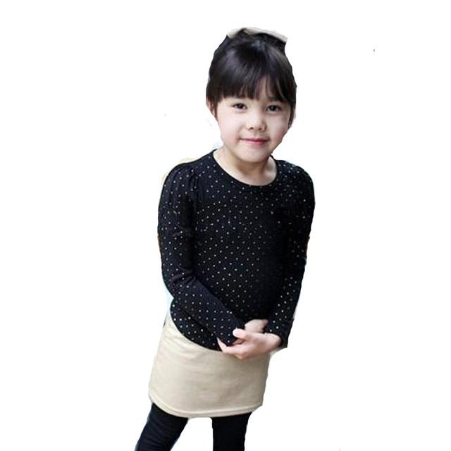 Crianças menina conjuntos de roupas de outono 2017 polka dot arco t calças camisa + saia leggings 2 pcs roupa do bebê moda roupas das meninas bonitos conjunto