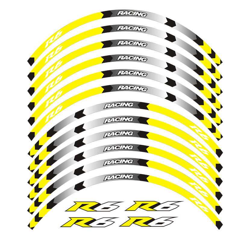 8 color for YAMAHA YZF R6 motorcycle 17inch wheel decals Reflective stickers rim stripes YZF R6 motorbike YZF R6 in Decals Stickers from Automobiles Motorcycles