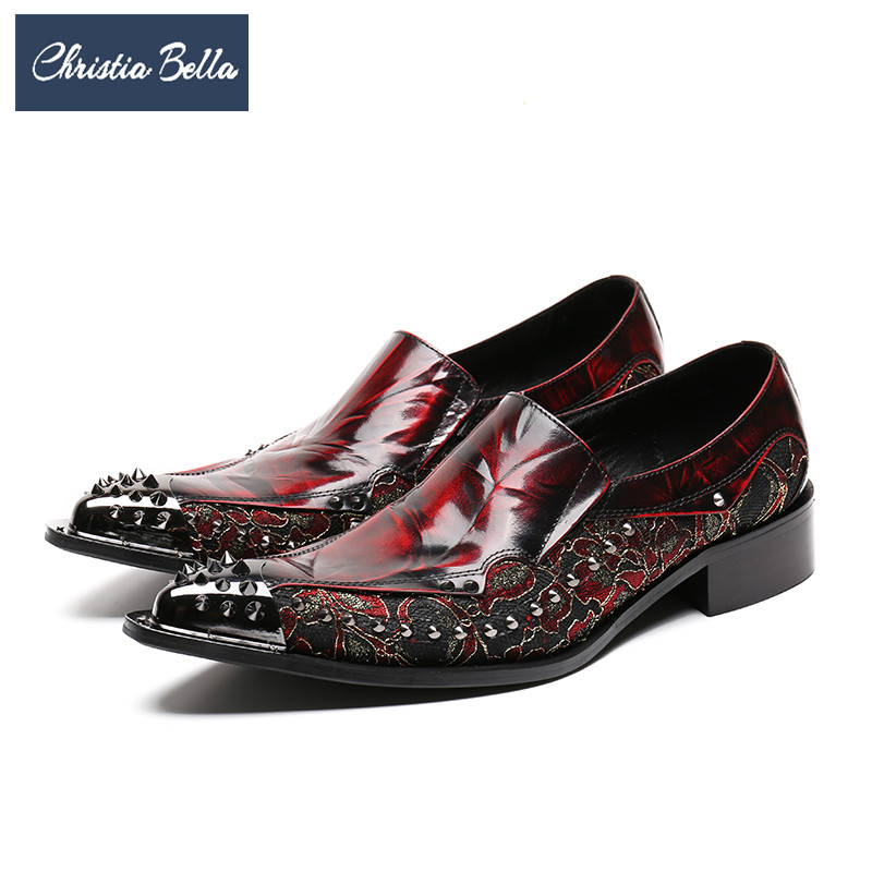 Buy Cheap Fashion Punk Rivets Mens Genuine Leather Shoes Red Pointed Toe  Dress Shoes Mens Italian Leather Shoes Slip on Oxford Shoes Price f28c84bce1e44