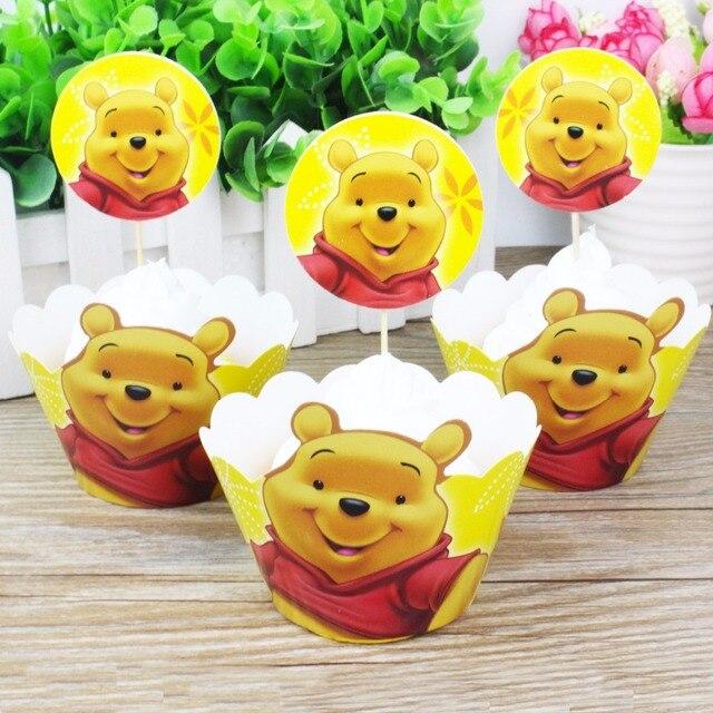 24Pcs Cute Cartoon Winnie Pooh Cupcake Wrappers Cake Toppers Wedding ...