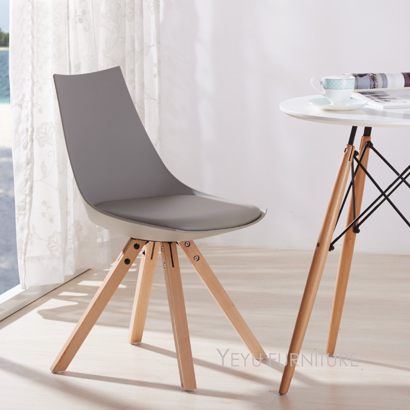 Modern Design Plastic and Solid wooden Padded Dining Chair ...
