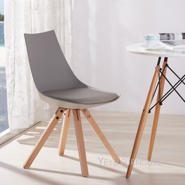 Modern Design Plastic And Solid Wooden Padded Dining Chair, Fashion Loft  Style Wood Cafe Chair
