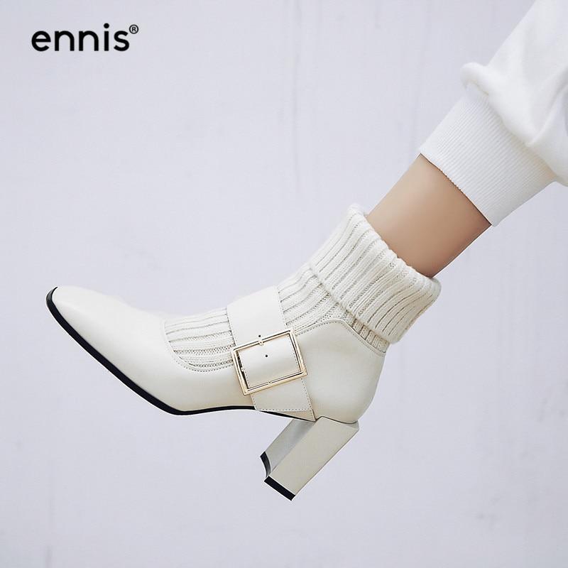 Chunky Chaussures Mode Boucle A8102 Noir Talons Hauts Tricoté Automne Hiver Femmes 2018 Beige À Cheville Bottes black Véritable Cuir Beige Ennis Fqv5xTOc