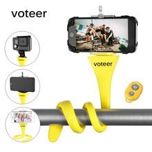 Tripé de selfie monopé flexível voteer, suporte monopé sem fio com bluetooth, câmera para gopro, iphone, carro, bicicleta