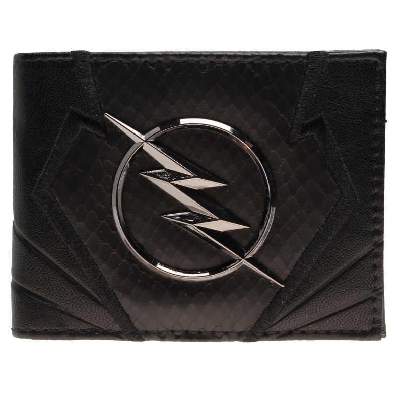 Carteira flash preto bordado metal emblema carteira heróis vs vilões bifold carteira masculina bolsa feminina DFT-2044