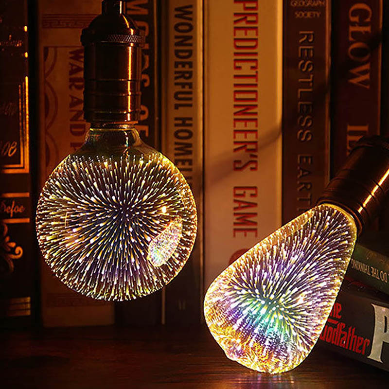 Funny E27 85-265V Silver Plated Glass 3D Firework LED Bulb Holiday Christmas Decoration star colorful Bar LED Lamp led light bulb edison 3d decoration silver holiday christmas decoration night bar glass led lamp 3w 5w candle lamparas bombillas