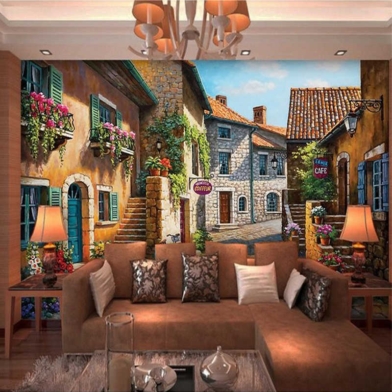 Custom 3D Photo Wallpaper European Town Landscape Mural Wallpaper Decor Living Room Bedroom Decals Wallpaper Papel De Parede 3D