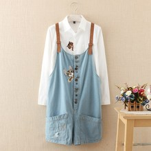 Autumn Winter Funny Female Cats Embroidery Denim Jeans Overalls Women Suspenders Wide Leg Bib Boots Short Jumpsuit raw trim calico embroidery denim boots