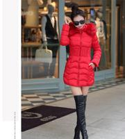 Cotton coat female long coat new feather downsuit slim slim coat thicker women big hair collar female coltsfoot 652018