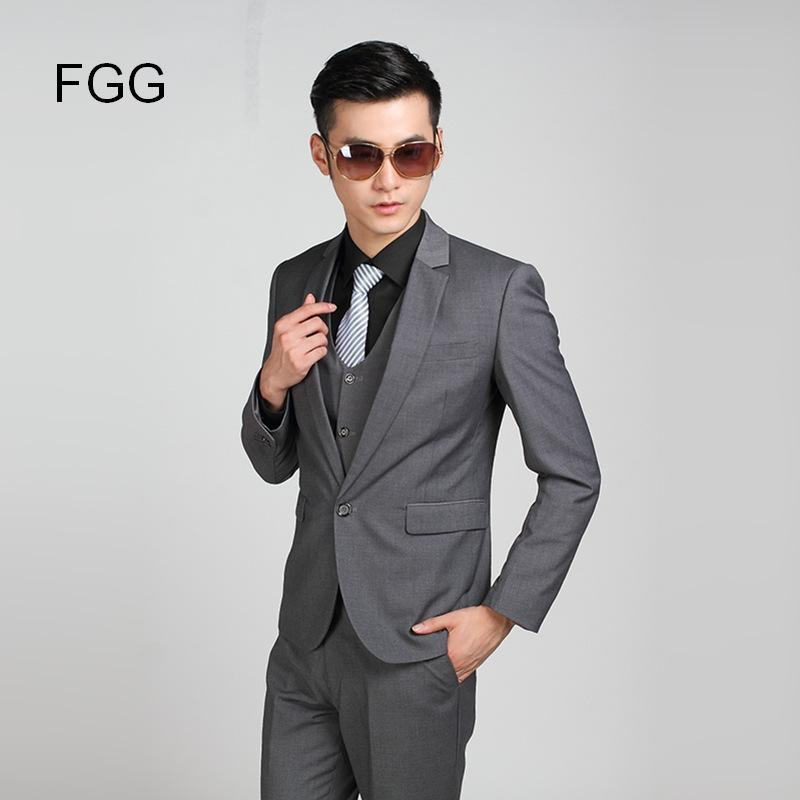 Popular Mens Gray One Button Slim Fit Suit-Buy Cheap Mens Gray One ...