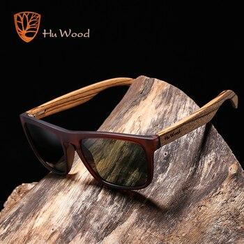HU עץ טבעי במבוק משקפי שמש לגברים זברה עץ שמש משקפיים מקוטב משקפי שמש מלבן עדשות נהיגה UV400 GR8002