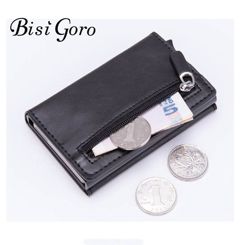 Card Wallet Purses Money-Bag Coin RFID Bisi Goro Magnetic Vintage Casual Blocking Closing