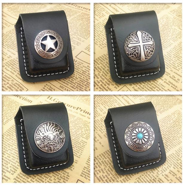 Geunine Leather Lighter packet Men Cigarette Lighter Holder Bag Small Box Lighter Case Super Match 90% Kerosene lighter Cover