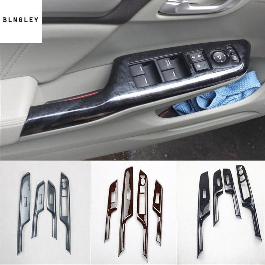 4pcs/lot ABS carbon fiber grain or wooden grain car window lift panel decoration cover for 2012-2015 HONDA CIVIC MK9 MK9.5 цена