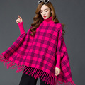 Ponchos De Senhora Women Autumn Winter Fringed Sweater Loose Tassel Lattice High Collar Bat Sleeve Knit Cape Shawl Coat DN9990