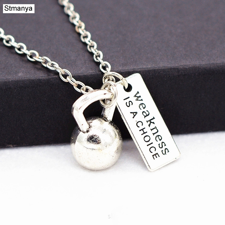 Fitness Jewelry Necklace Gift oumeifeng barbell dumbbell Kettlebell exercise accessories are alloy