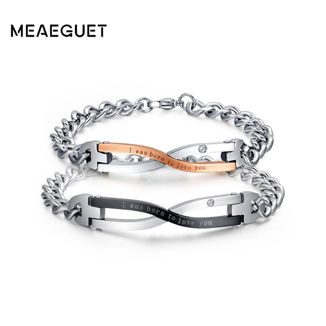 Meaeguet Id Bracelets With Words I Was Born To Love You For Women