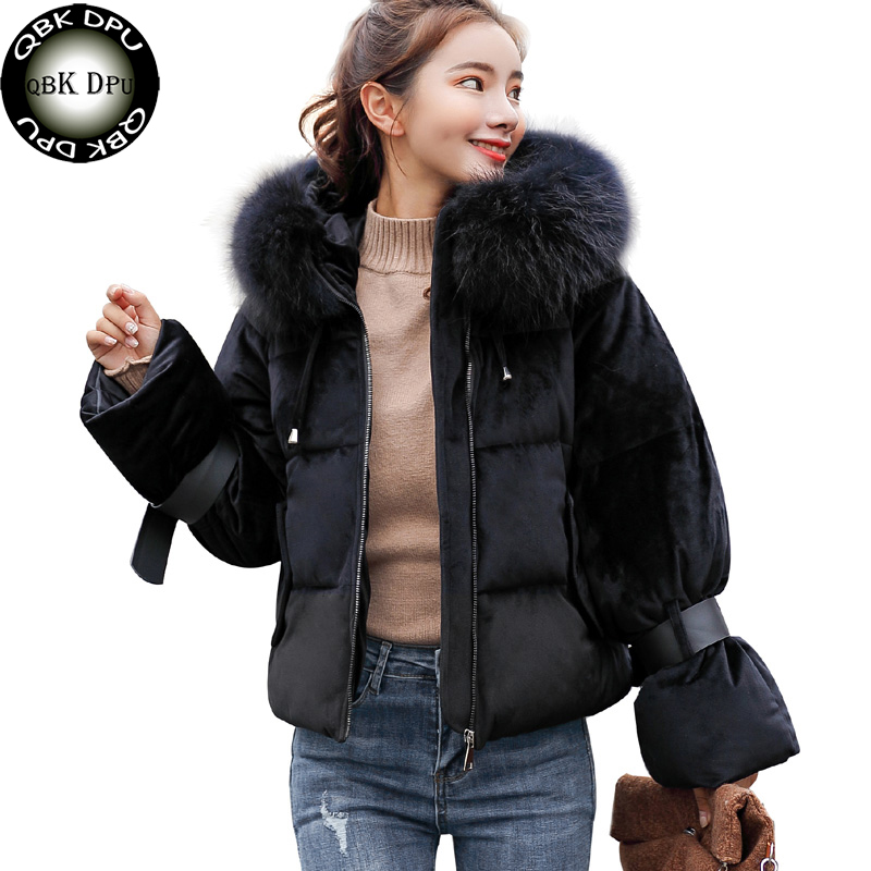 744e503fa4c Fashion women fur collar short parkas 2018 winter thick warm hooded cotton  padded jacket korea style casual outwear coat female